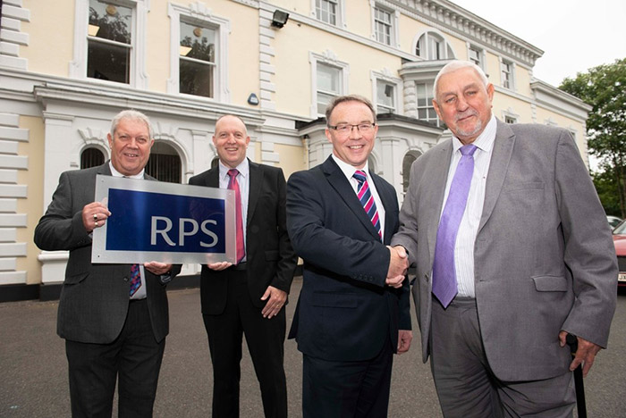 (l-r): Martin Probert, RPS Operational Director for Design, David Callaghan, RPS Operational Director Building Services, Alan Green, RPS Managing Director for Design, and Councillor Peter Bilson, outside the RPS City of Wolverhampton base